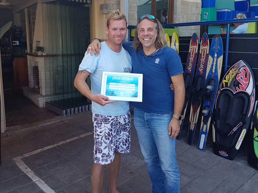 PADI Certificate of Recognition Steve Harte, Latchi Dive Centre, Latchi Watersports Centre, Cyprus